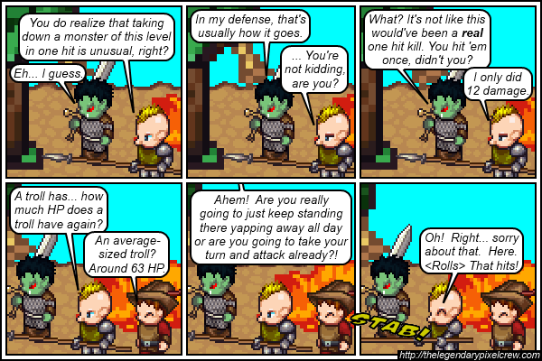 "Strip 303 - ""Technically, only six seconds have passed since combat started"""